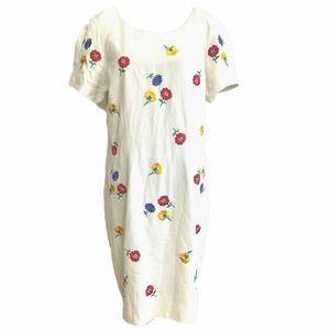 Liz Claiborne White and Color Floral Midi Dress